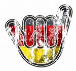 Distressed Aged NO WORRIES Hand With Germany German Flag Motif External Vinyl Car Sticker 105x100mm